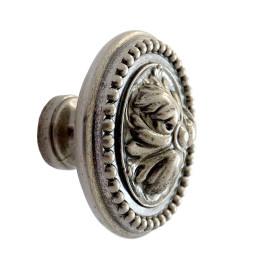 Knop Acanthus 32mm oud zilver
