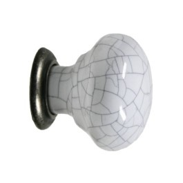 Knop Montepellier 35mm Wit craquelé vertint/zink oxide