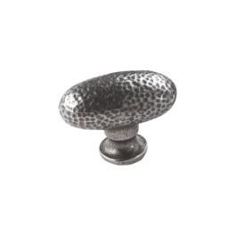 Ovale knop 40mm oud ijzer gemottled