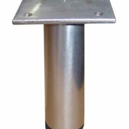 Poot Ø 25mm  verstelbaar met plaat RVS