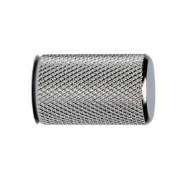 Stiftknop ribbel 17,5mm H-28mm alu. glimmend chroom