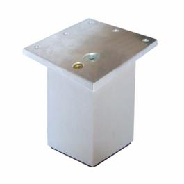 Vierkante poot 60x60mm  alu met hoekplaat