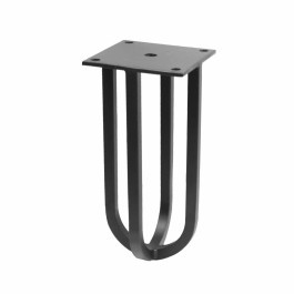 Wire poot rond 150mm met plaat mat zwart
